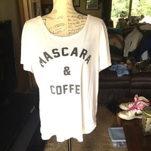 Old navy Mascara & Coffee white tee shirt